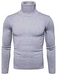 cheap -Men's Daily Solid Colored Long Sleeve Regular Pullover Sweater Jumper, Turtleneck Fall / Winter Black / Light gray / White M / L / XL