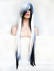 cheap -Synthetic Wig Cosplay Wig Straight Straight Asymmetrical With Bangs Wig Long White Synthetic Hair Women's Natural Hairline White