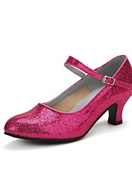 cheap -Women's Latin Shoes Ballroom Shoes Salsa Shoes Line Dance Heel Sparkling Glitter Buckle Cuban Heel Black Red Fuchsia