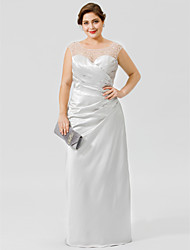 cheap -Plus Size Sheath / Column Jewel Neck Floor Length Satin Mother of the Bride Dress with Crystals / Pleats by LAN TING BRIDE® / See Through