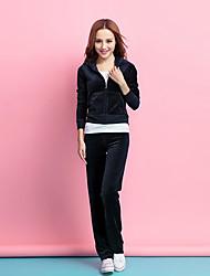 cheap -Women's Velour Sports Bra With Running Pants Track Pants Sports Pants Winter Running Warm Sportswear Plus Size Tracksuit Long Sleeve Activewear Inelastic / Velvet