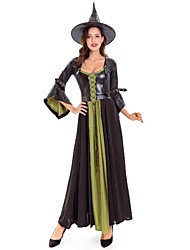 cheap -Witch Cosplay Costume Masquerade Women's Halloween Carnival New Year Festival / Holiday Spandex Black Women's Carnival Costumes Solid Color Patchwork / Hat