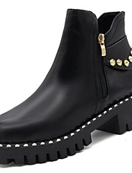 cheap -Women's Shoes PU(Polyurethane) Winter Comfort / Fashion Boots Boots Round Toe Zipper Black