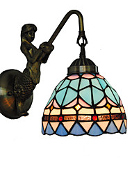 cheap -Diameter 15cm Retro Country Mermaid Tiffany Wall Lights Glass Shade Living Room Bedroom Light Fixture
