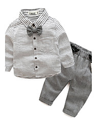 cheap -Baby Boys' Daily Striped Long Sleeve Cotton Clothing Set Gray