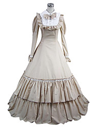 cheap -Medieval Dress Party Costume Masquerade Women's Cotton Costume White Vintage Cosplay Long Sleeve Floor Length