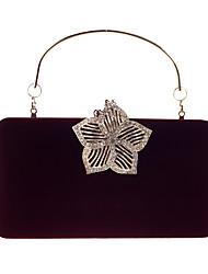 cheap -Women's Bags Velvet Evening Bag Buttons Crystals Wedding Party Event / Party Wine Black Blue Purple