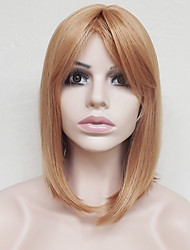 cheap -Synthetic Wig Straight Straight Asymmetrical With Bangs Wig Blonde Short Dark Blonde Synthetic Hair Women's Natural Hairline Blonde