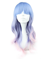 cheap -Cosplay Wigs Women's 22 inch Heat Resistant Fiber Blue Anime