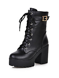 cheap -Women's Boots Chunky Heel Round Toe Faux Leather Mid-Calf Boots Comfort / Novelty / Fashion Boots Winter Black / Yellow / Brown / EU42