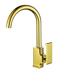 cheap -Kitchen faucet Ti-PVD Centerset Contemporary / Luxury Kitchen Taps / Brass High Arc