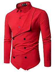 cheap -Men's Daily Chinoiserie Slim Shirt - Solid Colored Basic Classic Collar Black / Long Sleeve