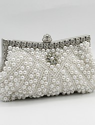 cheap -Women's Bags Satin Evening Bag Pearls Crystals Beading Wedding Bags Wedding Party Event / Party White Black Champagne Beige