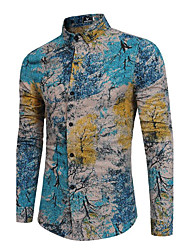cheap -Men's Party Going out Boho / Chinoiserie Cotton / Linen Slim Shirt - Graphic Print Classic Collar Blue / Long Sleeve