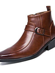 cheap -Men's Fashion Boots Leather Fall / Winter Boots Booties / Ankle Boots Black / Brown / Party & Evening / Lace-up / Party & Evening / EU42