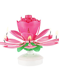 cheap -1PC Plastic Spinning Musical Birthday Flower Candle
