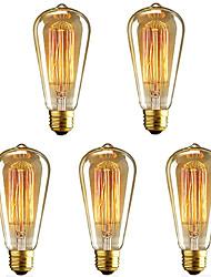 cheap -5pcs 40 W E26 / E27 ST64 Warm White 2200-2700 k Retro / Dimmable / Decorative Incandescent Vintage Edison Light Bulb 220-240 V