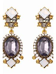 cheap -Women's Amethyst Drop Earrings Statement Ladies Vintage Rhinestone Earrings Jewelry Gold For Wedding Daily One-piece Suit