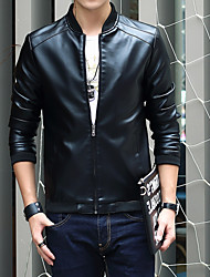 cheap -Men's Daily / Club Fall / Winter Plus Size Regular Leather Jacket, Solid Colored Stand Long Sleeve PU Black / Navy Blue / Khaki