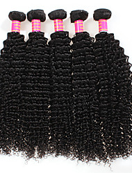 cheap -4 Bundles Peruvian Hair Kinky Curly Unprocessed Human Hair Natural Color Hair Weaves / Hair Bulk 8-28 inch Human Hair Weaves Human Hair Extensions / Short / 8A