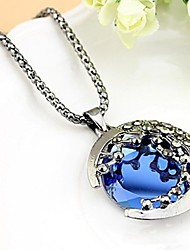 cheap -Women's Synthetic Sapphire Pendant Necklace Ladies Classic Fashion Zircon Alloy Dark Blue Necklace Jewelry For Daily Stage