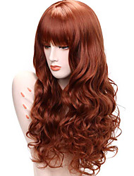 cheap -Synthetic Lace Front Wig Curly Wavy Curly Wavy Lace Front Wig Medium Length Long Auburn Synthetic Hair Women's Brown