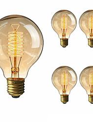 cheap -5pcs 40 W E26 / E27 G80 Warm White 2200-2700 k Retro / Dimmable / Decorative Incandescent Vintage Edison Light Bulb 220-240 V