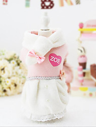 cheap -Cat Dog Dress Christmas Winter Dog Clothes Pink Costume Cotton Color Block Party Casual / Daily Keep Warm S M L