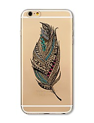 cheap -Case For Apple iPhone X / iPhone 8 Plus / iPhone 8 Transparent / Pattern Back Cover Feathers Soft TPU