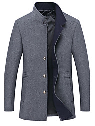 cheap -Men's Daily Simple / Casual Fall / Winter Plus Size Regular Pea Coat, Solid Colored Stand Long Sleeve Acrylic Navy Blue / Gray / Wine