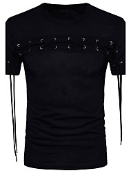 cheap -Men's Daily Cotton T-shirt - Solid Colored Round Neck Black / Short Sleeve / Spring / Summer