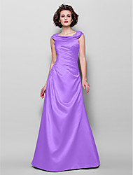 cheap -A-Line Jewel Neck Floor Length Satin Mother of the Bride Dress with Beading / Appliques / Side Draping by LAN TING BRIDE®