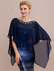 cheap -Chiffon Wedding / Party / Evening Women's Wrap With Beading / Buttons Capes