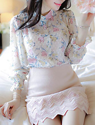 cheap -Women's Daily Weekend Blouse - Floral Print Stand White