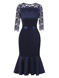 cheap -Women's Ruffle Navy Blue Dress Fall Daily Sheath Swing Solid Colored V Neck S M Slim