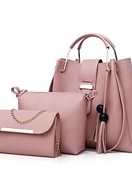 cheap -Women's Bags PU Leather Bag Set 3 Pcs Purse Set Zipper Tassel Shopping Bag Sets Handbags White Black Red Blushing Pink