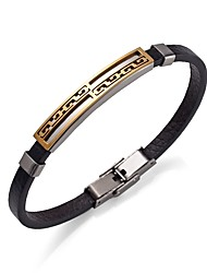 cheap -Men's Leather Bracelet Bracelet Hip-Hop Stainless Steel Bracelet Jewelry Gold / Black For Casual Going out