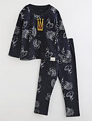 cheap -Toddler Girls' Striped Cartoon Long Sleeve Cotton Sleepwear Navy Blue