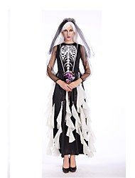 cheap -Bride Costume Women's Halloween Day of the Dead Festival / Holiday Polyster Black Women's Carnival Costumes Stripes Vintage / Headwear