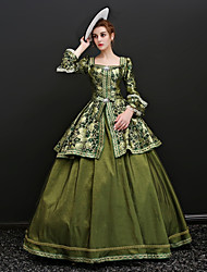 cheap -Maria Antonietta Rococo Lace Up Victorian 18th Century Dress Party Costume Masquerade Ball Gown Women's Satin Costume Green Vintage Cosplay Party Prom 3/4 Length Sleeve Floor Length Ball Gown Plus