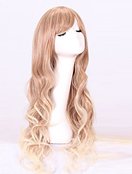 cheap -Cosplay Costume Wig Synthetic Wig Wavy Wavy With Bangs Wig Blonde Long Blonde Synthetic Hair Women's Blonde