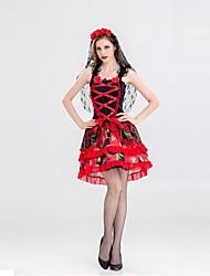 abordables -Déguisement Halloween Femme Squelette / Crâne Mariée fantomatique Costume Halloween Le jour des morts Rouge Costumes Carnaval / Fleur / Résille / Coiffure
