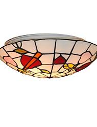 cheap -2-Light Diameter 30cm Tiffany Ceiling Light Glass Shade Living Room Bedroom Dining Room Flush Mount Kids Room Light Fixture