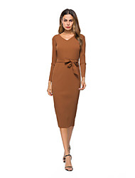 cheap -Women's Party Going out A Line Dress - Solid Colored V Neck Fall Cotton Green Khaki M L XL