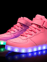 cheap -Girls USB Charging  LED / Comfort / LED Shoes Customized Materials / Leatherette Sneakers Little Kids(4-7ys) / Big Kids(7years +) Walking Shoes Lace-up / Hook & Loop / LED Black / White / Red Spring