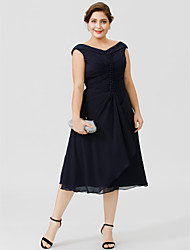 cheap -Plus Size A-Line V Neck Tea Length Chiffon Mother of the Bride Dress with Buttons Pleats by LAN TING BRIDE®
