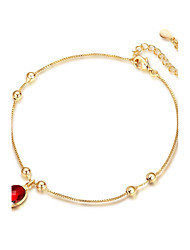 cheap -Women's Synthetic Ruby Anklet Ladies Bohemian Boho Sterling Silver Gold Plated Anklet Jewelry Gold For Party Engagement