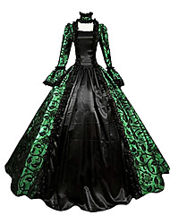 cheap -Victorian Medieval 18th Century Dress Party Costume Masquerade Ball Gown Women's Lace Lace Satin Costume Purple / Green / Red Vintage Cosplay Party Prom Long Sleeve Long Length Ball Gown Plus Size