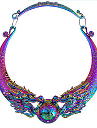 cheap -Women's Synthetic Diamond Pendant Necklace Dragon Vintage Chunky Alloy Silver Rainbow Necklace Jewelry For Party Daily