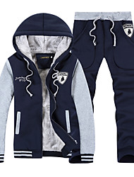 cheap -Men's Sports Street chic Long Sleeve Activewear Set - Color Block Hooded Navy Blue XL / Fall / Winter